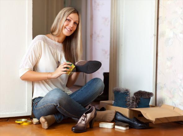 чистим обувь прежде чем сушить